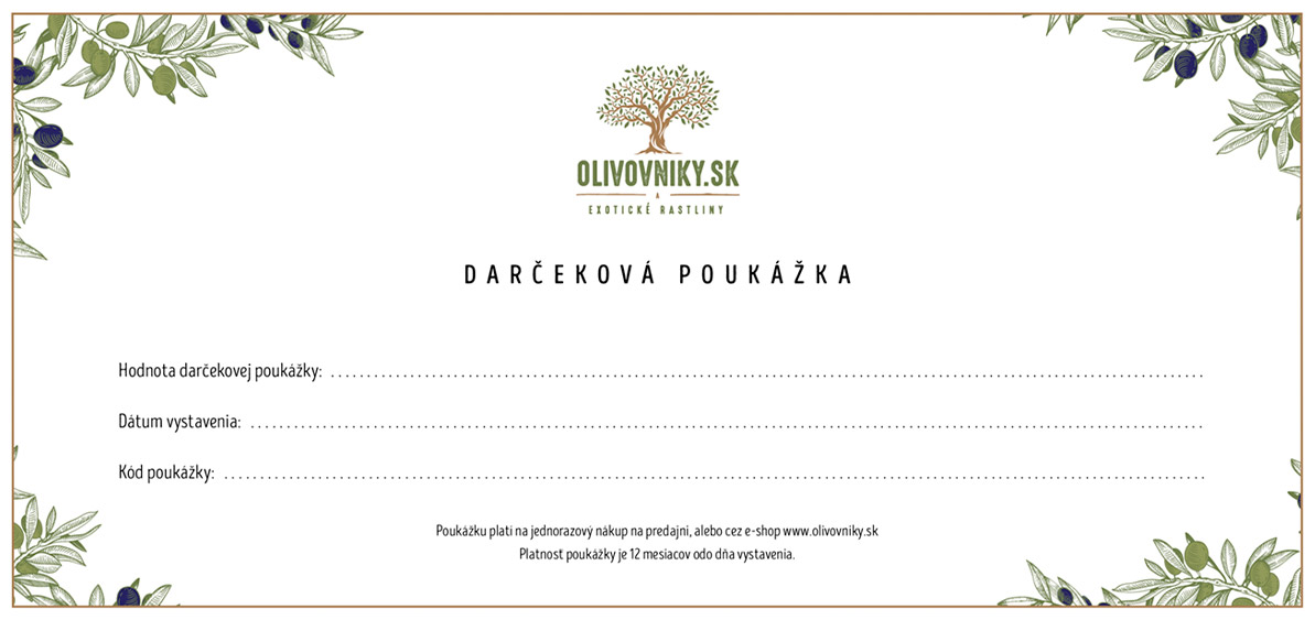darčeková poukážka olivovniky.sk